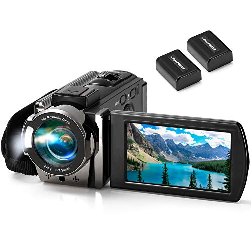 Video Camera Camcorder kimire Digital Camera Recorder Full HD 1080P 15FPS 24MP 3.0 Inch 270 Degree Rotation LCD 16X Digital Zoom Camcorder Camera with 2 Batteries(Black)