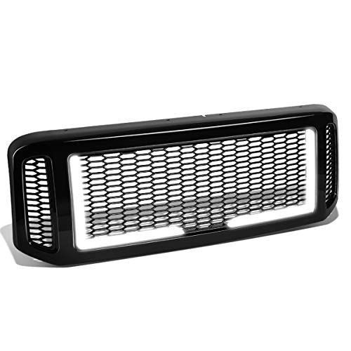 Black Badgeless Diamond Mesh Style LED Light Bar Front Bumper Grille Replacement for Ford F250-550 Super Duty 05-07