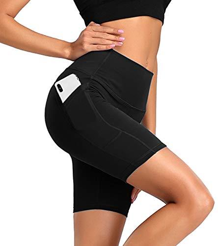 JOFLY Leggins Cortos Mujer Deportivos con Bolsillo, Mallas Deporte de Cintura Alta, Pantalones Leggings Suaves y Elásticos para Yoga, Correr, Pilates, Fitness y Estiramiento (XL)