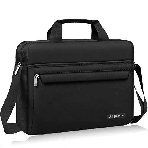 Alfheim Bolso para computadora portátil 15,6-16 Pulgadas, Bolso de Hombro con maletín para Hombres y Mujeres, Bolso de Mensajero Informal y Ligero Repelente al Agua (Negro)