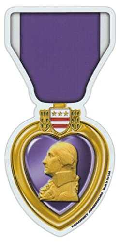 Magnetic Bumper Sticker - Purple Heart Ribbon (Medal) - United States Military Decoration - 2.5' x 5.25'