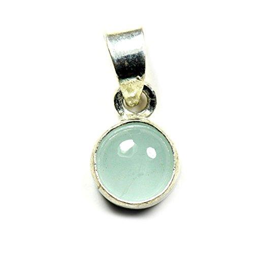 jewelryonclick 3Karat Echte rund Edelstein Aquamarin Anhänger Charm 92,5Sterling Silber