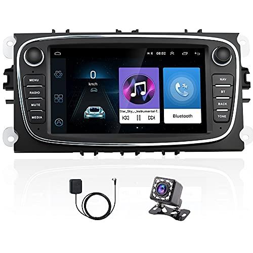 Android Autoradio para Ford Focus Mondeo Kuga Galaxy C-MAX S-MAX,Hikity Bluetooth Radio Coche GPS Navegación Estéreo para Automóvil Pantalla Táctil De 7 Pulgadas WiFi FM Mirror Link (Negro)
