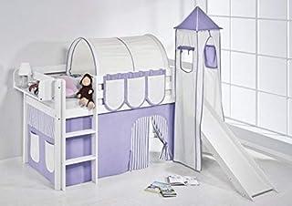 Lilokids Lit Mezzanine JELLE Lilas-Beige-Rayurs - lit d'enfant Blanc - avec Toboggan, Tour et Rideau - lit 90x200 cm