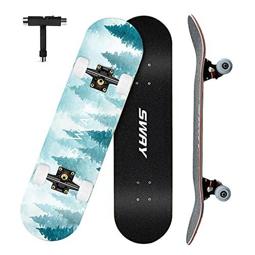 VOMI Skateboard Adulto, Patineta Skate Completo para Principiantes, 79 x 20,5 cm 7 Capas Monopatín de Madera de Arce Tabla Doble Patada, Skateboard para Niñas Niños Adolescentes