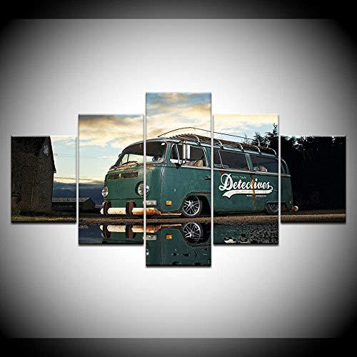 Modern Artwork Home muurkunst decoratie foto's HD-afdrukken 5 stuks retro Volkswagen bus auto schilderij op canvas retro poster woonkamer zonder lijst