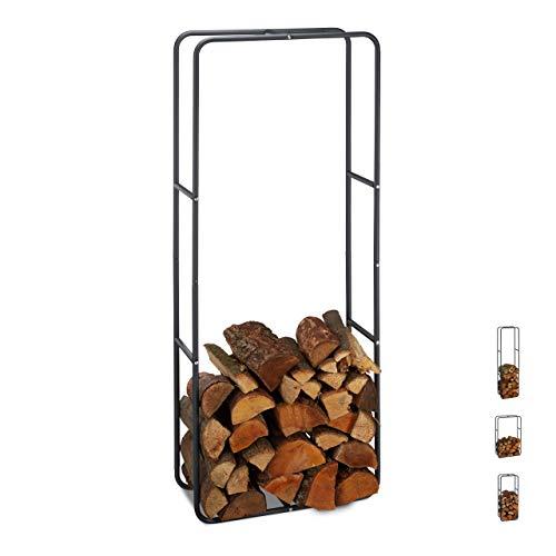 Relaxdays Kaminholzregal, Holzscheite Stapelhilfe, aus Stahl, innen und außen, Brennholzregal, HxB 150x60 cm, anthrazit