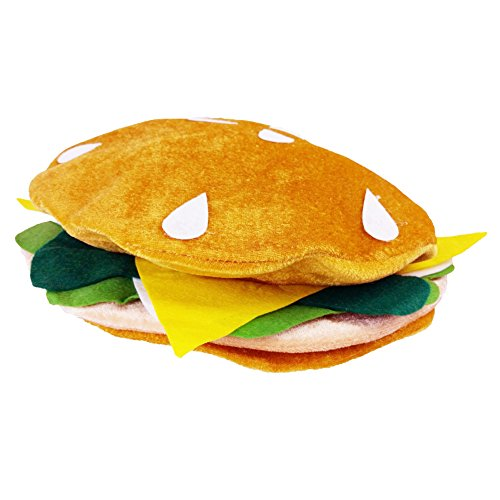 Funny Party Hats Food Hats - Pizza Hamburger Hot Dog Costume Party Dress Up - Chef Hat (Hamburger Hat)