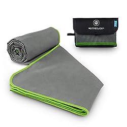 BERGBRUDER microfiber towels - ultralight, compact & quick-drying - microfiber towel, travel towel, sports towel (gray-green, L 160x80 cm)