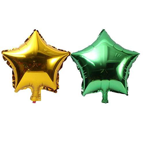 Xinger 10Pcs vijfpuntige ster folie ballon baby shower bruiloft kinderen verjaardagsfeestje decoraties ballonnen, 5p goud 5p groen, 10inch
