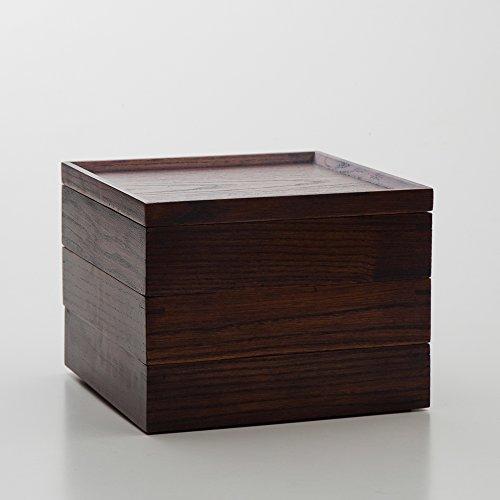 天然木製 三段重箱 スクエア 漆塗り 大