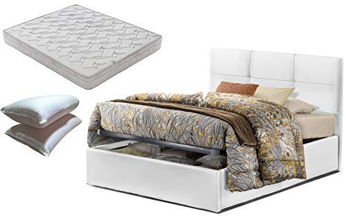 Letto piazza e mezza con box contenitore bianco Touch + materasso misura 120x190 cm memory foam+coppia guanciali in fibra 3D