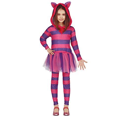 Fiestas Guirca Disfraz infantil de gato de Cheshire con vestido de Alicia, color rosa y lila, para carnaval (5-6 años)