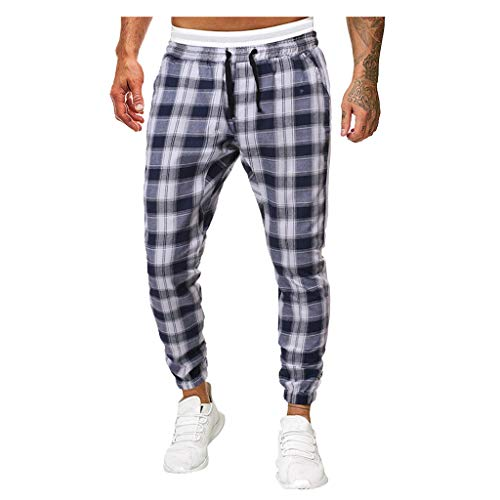 Zarupeng Stretch Fitness Sportbroek Casual Plaid Broeken Slim Fit chinosbroek Hardlopen Joggingbroek Outdoor Sweatpants