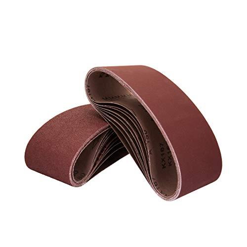 POWERTEC 110430 3 x 21 Inch Sanding Belts | 80 Grit Aluminum Oxide Sanding Belt | Premium Sandpaper for Portable Belt Sander – 10 Pack