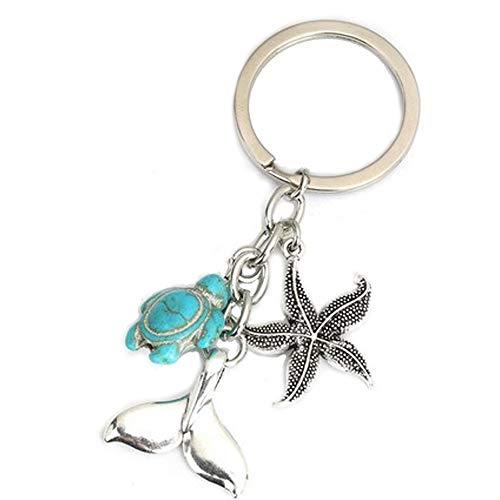 SaiDian 1 Pcs Ocean Keychain Fashion Creative Silver Key Ring Turtle Starfish Pendant Metal Keychain Gift for Beach Lover