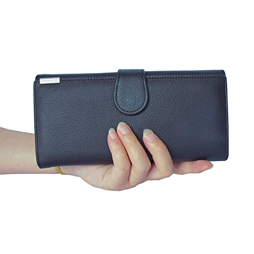 DZX lederen portemonnee lange clutch tas mobiele telefoon Womens portemonnee Multi Credit Card Zwart