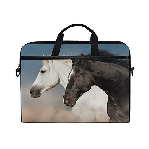 WowPrint Laptop Sleeve, Horse Pattern Laptop Case Shoulder Strap with Handle Portable Notebook Computer Bag for 13 13.3 14 15 inch