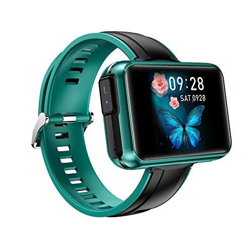 LRHD TWS Wireless Bluetooth Headset + Smart Watch 2 en 1 HiFi 6D Sound estéreo 1.4'Big DIY Pantalla Bluetooth Llama Tiempo SmartWatch Sport Smart Pulsera Compatible con iOS, Android (Color : Verde)