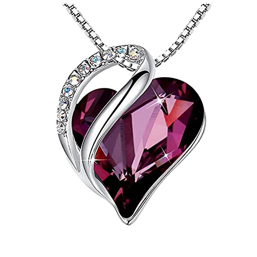 haoricu Love Heart Pendant Necklace with Birthstone Crystals, Jewelry Gifts for Women Birthday/Anniversary Day/Party Purple