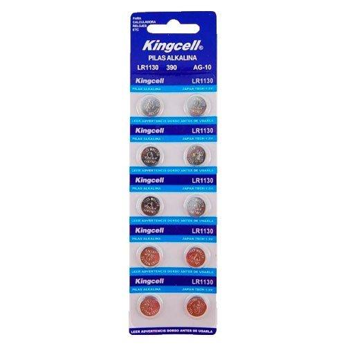 Kingcell - Pack de 10 pilas alcalinas de botón LR1130 1,5V