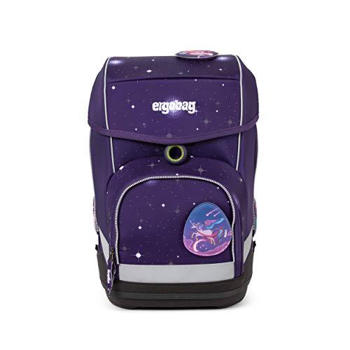 Ergobag cubo Bärgasus Glow, Galaxy Glow Edition, ergonomischer Schulrucksack, Set 5-teilig, 19 Liter, Lila Galaxie Glow