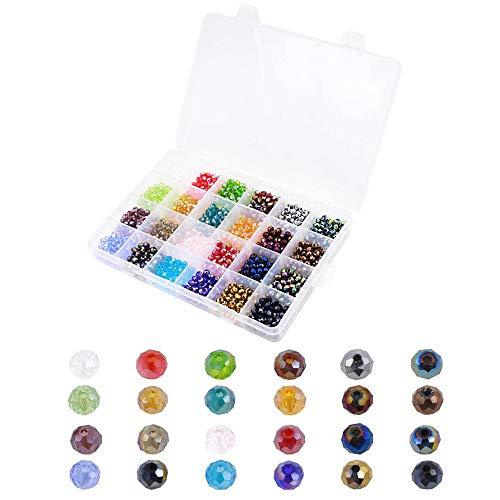 1200 Pezzi Perline Sfaccettate Colorate, 6mm Perline Cristallo Sfaccettato, Perline di Vetro Kit di Colore Sfaccettato Forma, per Braccialetti, collane, Gioielli, progetti Fai da Te