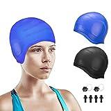 Bestcool Pack de 2 gorros de natación unisex de silicona de alta elasticidad para mujeres y hombre 3D protección de los oídos gorro de baño para pelo largo y corto antideslizante