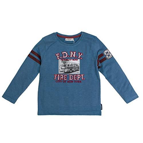 Salt & Pepper Jungen Adventure Fire Dept Print Langarmshirt, Blau (Dutch Blue Melange 447), 92 (Herstellergröße: 92/98)