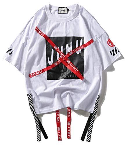 PIZOFF Unisex Hip-Hop Coole Sweatshirts - Kurzarm XXX Oversized Übergroß Straße Stil Band Design White M