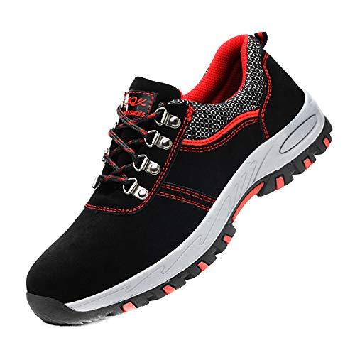 DoGeek Zapato Seguridad Calzado Seguridad Hombre con Punta de Acero, Antideslizante Transpirables, Unisex, Negro, 42