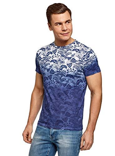 oodji Ultra Herren Bedrucktes Baumwoll-T-Shirt, Weiß, L