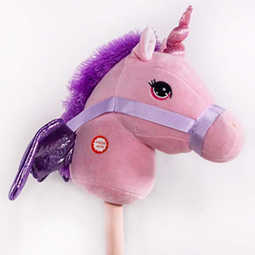 PonyLand Pink Unicorn Stick Horse with...