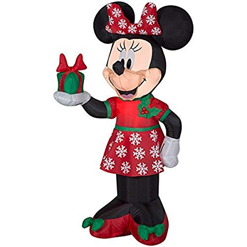 Gemmy 84233 Airblown Minnie with Present Christmas Inflatable 3.5 FT TALL