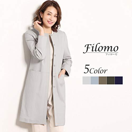 『[Filomo] ラムレザー ノーカラー コート ロング丈 レディース ジャケット : S カーキ』の1枚目の画像