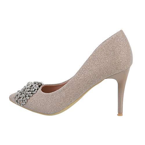 Ital Design Damenschuhe Pumps High Heel Pumps, Q735-, Synthetik, Rosa Gold, Gr. 38