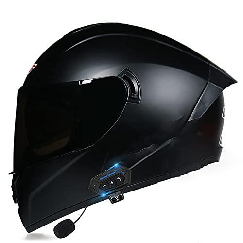NBMNN Casco de Moto Modular Bluetooth Integrado con un Micrófono Incorporado Doble Visera Anti Vaho Cascos de Motocicleta para Mujer Hombre, Certificación Dot/ECE K,XL=61~62CM