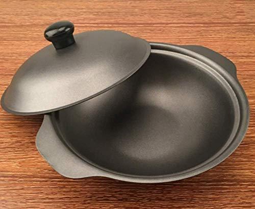 Wok de hierro fundido con tapa, sartén antiadherente, universal para varios hornos, apto para una o más personas, mini wok pequeño-16cm