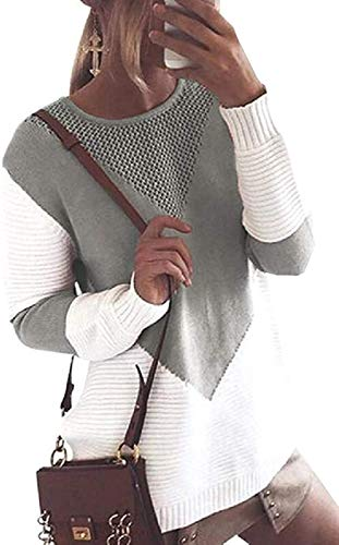 Womens Oversized Batwing Sleeve Sweaters Color Block Slouchy Loose Knit Pullover Jumper Sweater sweater dress (Color : Grey, Size : Medium)