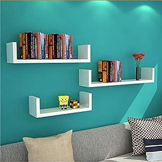 Dime Arts Shoppee Wall Mounted Book Shelf Easy Mounted U Shaped Floating Wall Shelf (White)
