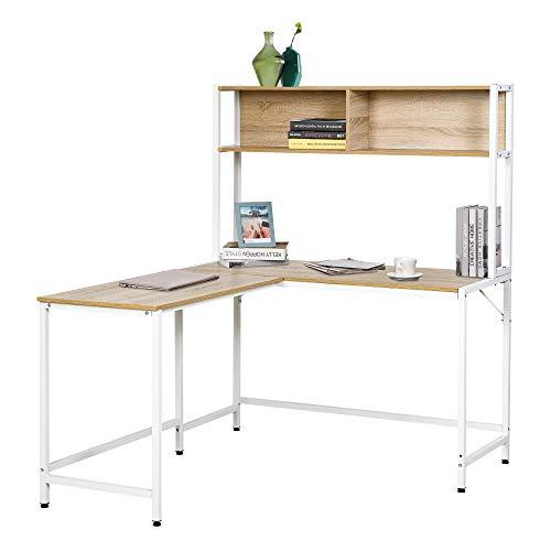 HOMCOM Escritorio en Forma de L Multifuncional Mesa de Ordenador para Oficina o Estudio con Estantes Altos Espacio Amplio Moderno y Minimalista 140x125x149 cm Color Madera