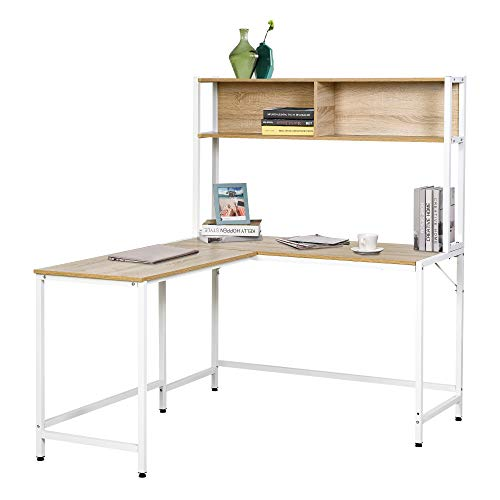 HOMCOM Office L-Shaped Computer Desk with Overhead Bookshelf, Two Side...