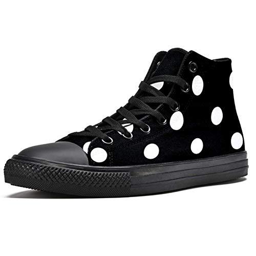 LORVIES - Zapatillas deportivas de tela para hombre, diseño de lunares blancos, color blanco, (multicolor), 44 EU