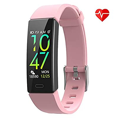 ZURURU Fitness Tracker with Blood Pressure Heart Rate Monitor, IP68 Waterproof Activity Tracker Fit Smart Watch with 10 Sport Modes Pedometer Calorie Step Counter for Women Men (Pink)