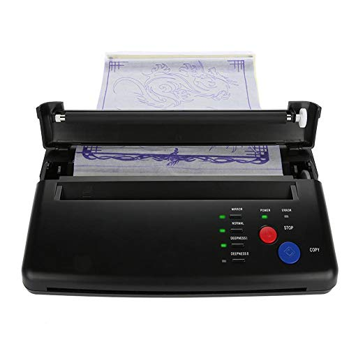 Tattoo Transfer Maschine, tragbare A5 A4 Papier Tattoo Drucker Zeichnung Thermal Stencil Maker Kopierer Drucker Maschine mit 2 Leuchtanzeigen für Tattoo Transfer Papier Kohlepapier Versorgung(EU)