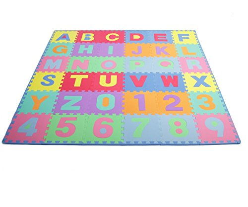 ProSource Kids Puzzle Alphabet, Numbers, 36 Tiles and Edges Play Mat, 12' by 12'