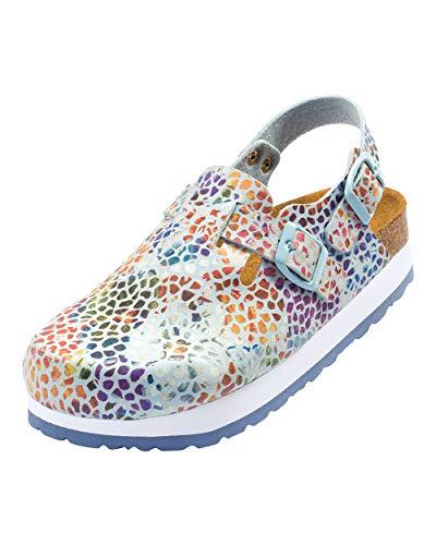 CLINIC DRESS Clog - Clogs Damen bunt Mosaik. Schuhe für Krankenschwestern, Ärzte oder Pflegekräfte hellblau/bunt, grafisches Muster, Mosaik 37