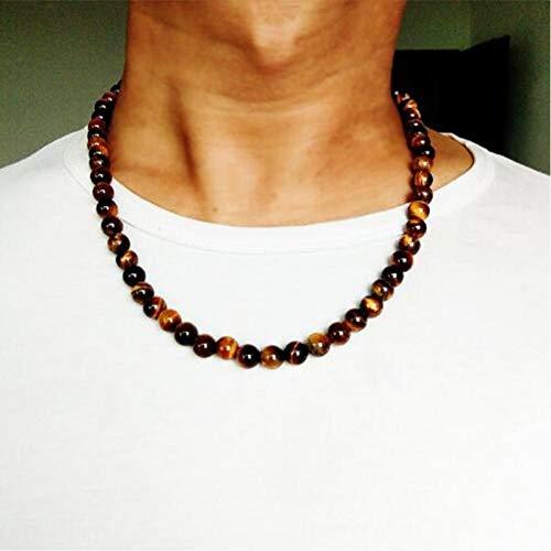 KJFUN Collar De Cadena De Cuentas De Piedra De Ojo De Tigre con Gargantilla De Joyería Vintage para Hombre Collar De Cadena De 6 Mm 8 Mm para Hombre