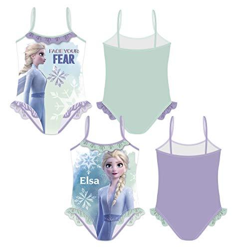 Frozen Badeanzug AUSWAHL Bikini Beachware Bademode Kinderkleidung Anna Elsa Die Eiskönigin (Hinten Lila, 4 Jahre)