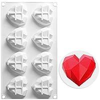 AIChefフレンチスタイル ムース 牛乳ゼリー プリン ケーキ ベーキング ツール 家庭用 粘りがない 高温に耐える 8マス 立体感の ダイヤモンド形の愛の心 デザート シリコン金型